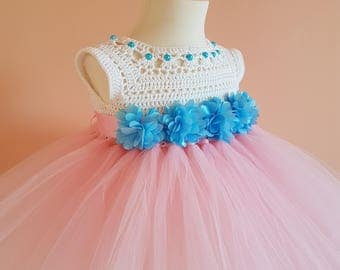 pink and blue tutu dress, crochet dress,toddler dress,birthday dress, flower girl dress,crochet yoke, bridesmaid dress, baptism dress