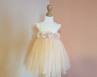 tutu dress, ivory champagne soft tulle dress, wedding dress, flower girl dress, bridesmaid dress, crochet dress, baptism dress