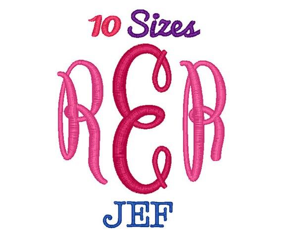 Oval monogram embroidery font machine fonts jef