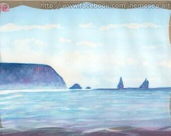 Original landscape watercolor sailor Sea Cliff Seascape Boat Paint PG122 boats