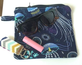 makeup bag custom accessories pouch personalized jewelry pouch cosmetic bag sunglasses pouch  - blue jellyfish pouch designer fabric