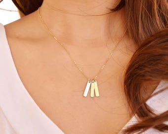 Personalized necklace 3 4 5 6 initial bar - Multiple Vertical bar necklace, Delicate Dainty Short Layering Necklace, Birthday gift for her