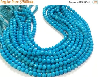 Exclusive Quality Turquise Micro faceted Round 7 mm approx , 13 inch strand