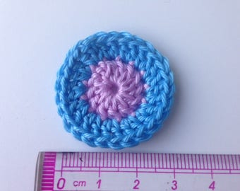 Rosette pink and blue crocheted flower
