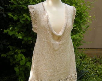 Shirt, top, waterfall neckline, knitted - natural, size M/L