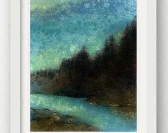 RIVERSIDE, Forest Rain Painting, limited edition art print, nature art, Oregon, Northwest