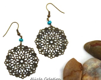 "Earrings turquoise ""starlit flower"""