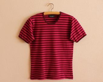 MARIMEKKO Women Shirt Nautical Shirt Short Sleeves Top Purple Pink Striped Sailor Blouse Marine Cotton Jersey T-Shirt Small Size