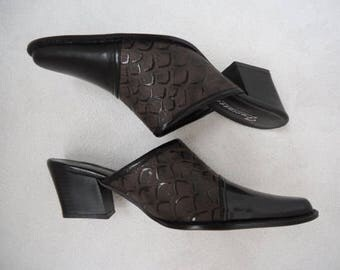 Cowboy Clogs Western Shoes Black Brown Size 6
