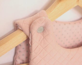 New: Sleeping bag sleeping bag newborn (0-6 months) soft pink color and silver piping - fabric France Duval Stalla.