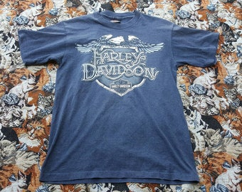 80's Harley Davidson Motorcycle Shirt Size Medium Damaged Pleasant Hill California Bill Chaney Dealership Vintage Single Stitch HD