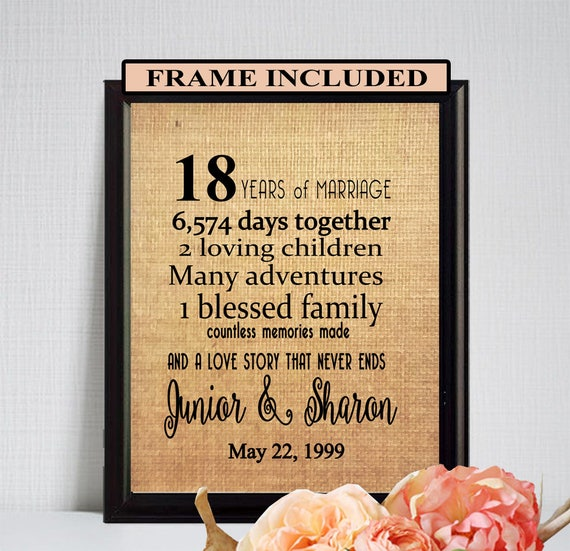Framed 18th Wedding Anniversary Gift 18th Wedding Gift