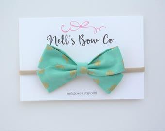 Teal Matallic ladybugs - Baby, Toddler, Girls, Fabric, Hair Bow, Headband, Hair Clip, Hair Accessories, Folded Hair Bow, Baby Shower Gift