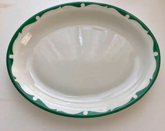 Shenango Dinerware White Platter with Green Wave Scroll Border