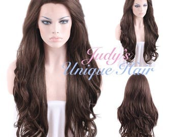 Long Wavy Dark Brown Lace Front Wig Heat Resistant
