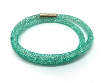 Crystal Wrap bracelet Green with magnetic clasp 18 cm
