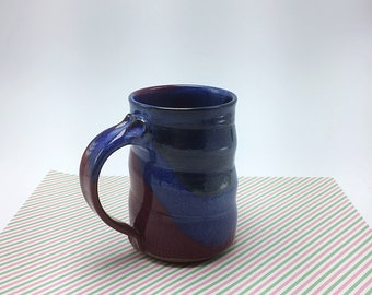 Pottery mug, ceramic mug,red mug, blue mug, coffee mug, tea cup, wheel thrown pottery mug, stoneware mug, handmade mug