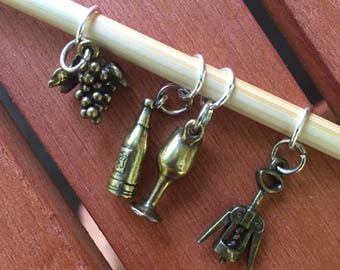 Oregon Wine Country Themed Set of Four Snag Free Stitch Markers (US size 8 or smaller)