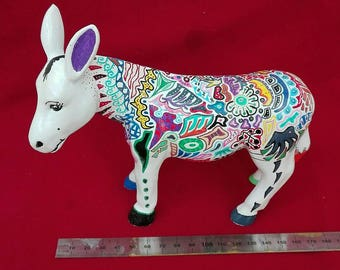 Donkey hand painted figure. Colorful patterns. Synthetic resin. From Wesel...