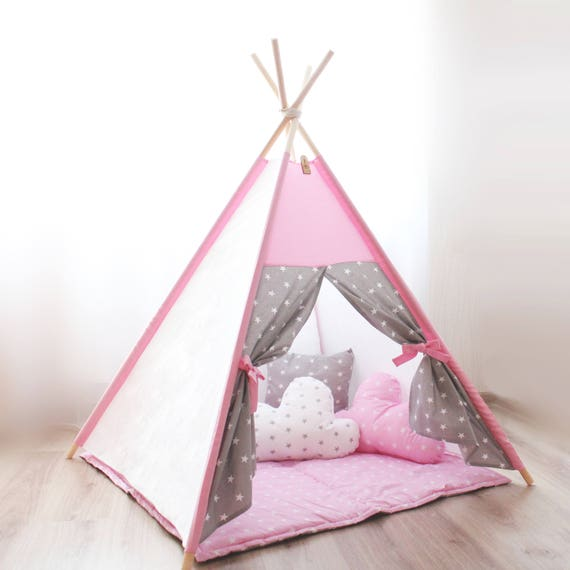 Like this item?  sc 1 st  Etsy & Nursery decor Teepee kids Teepee tent Pink gray stars Baby