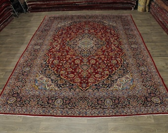 Traditional Great Shape Signed Kashan Persian Area Rug Oriental Carpet 10X14