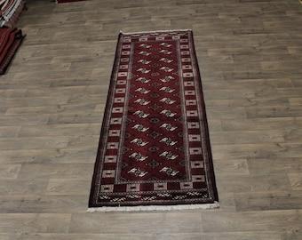 Nice Handmade Tribal Runner Burgundy Turkoman Persian Rug Oriental Carpet 3ʹ4X9