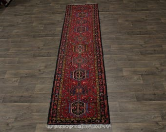 Geometric Narrow Hallway Antique Gharajeh Persian Area Rug Oriental Carpet 3X11