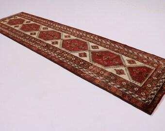 4X14 Geometric Vintage Runner Meshkin Persian Rug Oriental Area Carpet 3'8X13'7