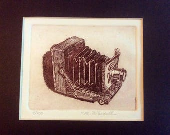 Vintage M. Wardell Black & White Antique Folding Plate Camera Etching with Black Mat