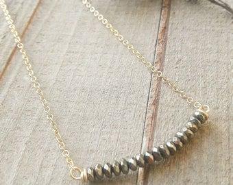 Hematite bar gold filled chain