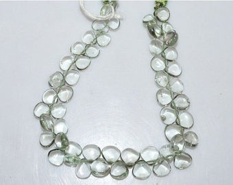 """50% OFF Natural Green Amethyst Smooth Heart Shape Beads - Green Amethyst Heart Shape Briolette , 8 x 8 mm , 8"""" , BL1852"""