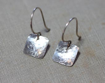 Sterling Silver Earrings Hammered Silver Rustic Jewelry Textured Square Light