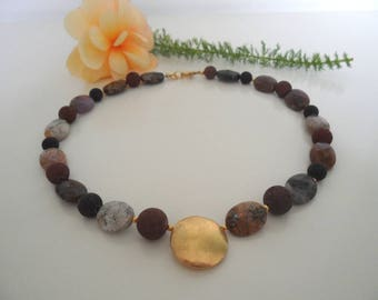 Brown lava chain with Jasper and gold
