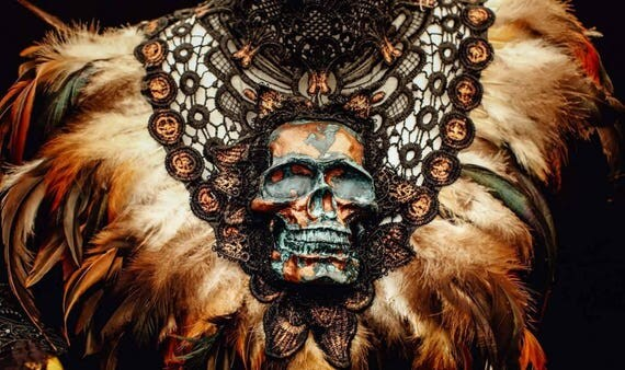 Pagan Bronze rust skull Feathercollar/patina resin skull collar with feather trim made to order