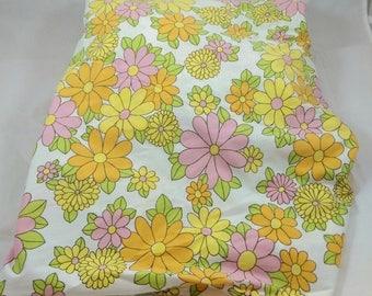 Vintage Stevens Utica Mod Floral Double Bottom Fitted Sheet