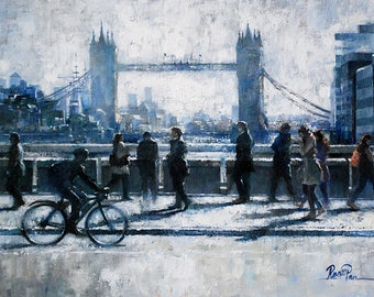 Original oil painting on canvas by Roger Pan, ''Morning, London Bridge'', London