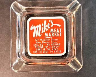 New Haven CT Memorabilia Mikes Meat Market First Shop at Current Site of Frank Pepe's Pizzeria Ashtray Circa 1960