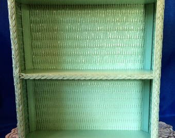 vintage mint green wicker bathroom shelf wall hanging two shelves retro bathroom