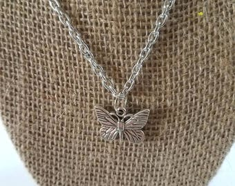 Silver Chain with Butterfly Pendant Necklace, Silver Necklace, Silver Chain Necklace, Butterfly Pendant, Butterfly Charm, Silver Butterfly