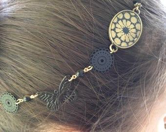 Head band bronze glaze and dark blue Japanese paper.