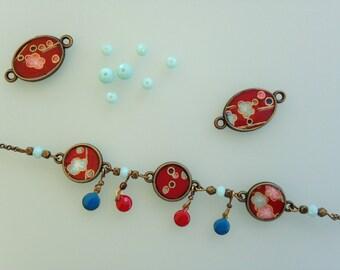 "Bracelet ""Trinket"" red Japanese paper flowers."