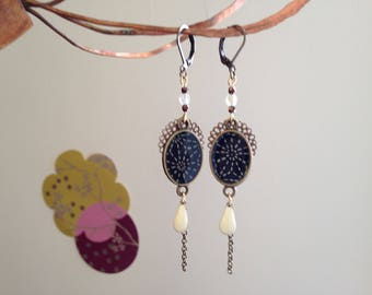 Blue and white Japanese paper earrings.
