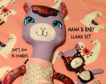 Mama Llama Baby Llama Set, Dress Up Dolls, Stuffie Sets, Handmade Toys