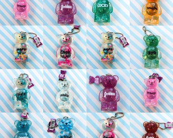 Water squishy bear keychains