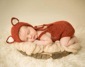 Newborn Fox Bonnet - Ready to Ship - Photo Prop - Newborn Fox set