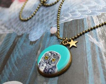 OWL pendant, ceramic cabochon