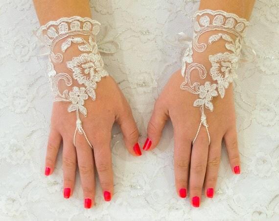 Lace Gloves Fingerless, Ivory Wedding Glove, Bridal Wedding Glove, Wedding Accessories, Bridal Accessories 22