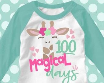 100 days svg, 100th day of school svg, giraffe svg, 100 magical days svg, school, 100 days, SVG, DXF, EPS, 100 days shirt, girls svg, cutter