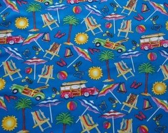 Sea, Sun & Cars on blue background