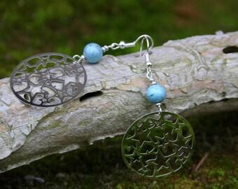 Boucles d'oreille Estampes étoilées et perle de verre bleu/gris avec Tréfilé